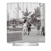 Here He Comes Shower Curtain