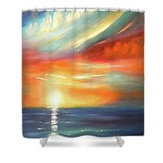 Here It Goes - Colorful Sunset Shower Curtain