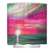 Here It Goes - In Teal And Magenta Vertical Sunset Shower Curtain