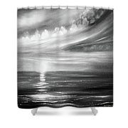 Here It Goes - Square Sunset In Black And White Shower Curtain