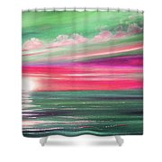 Here It Goes In Teal And Magenta Panoramic Sunset Shower Curtain