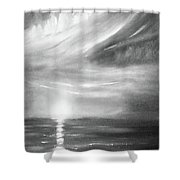Here It Goes -vertical Sunset In Black And White Shower Curtain