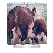 Hereford Cow Calf Shower Curtain