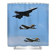 Heritage Flight, P-51 Mustang And F-16 Fighting Falcon Shower Curtain