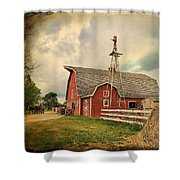 Heritage Village Barn Shower Curtain