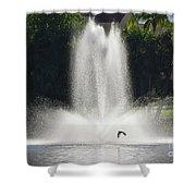 Heron Across A Fountain Shower Curtain
