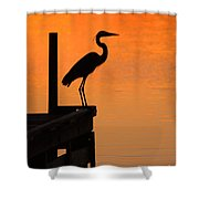 Heron At Sunset Shower Curtain