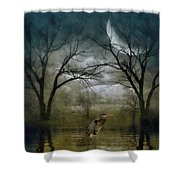 Heron By Moon Glow  Shower Curtain