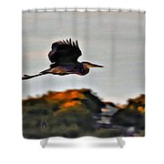 Heron Flying Away Shower Curtain