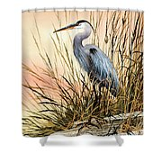 Heron Sunset Shower Curtain by James Williamson