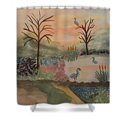 Heron's Hangout At Sunrise Shower Curtain
