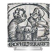 Herophilos, Erasistratus, Ancient Greek Shower Curtain