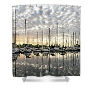 Herringbone Sky Patterns With Yachts And Boats  Shower Curtain