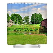 Herr's Grist Mill And Covered Bridge Shower Curtain