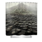 Hexagon Stones And A Mountain In The Morning Fog Shower Curtain