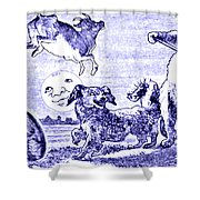 Hey Diddle Diddle The Cat And The Fiddle Nursery Rhyme Shower Curtain