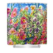 Hibiscus And Friends Shower Curtain