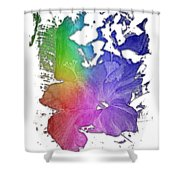 Hibiscus S D Z 2 Cool Rainbow 3 Dimensional Shower Curtain