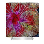 Hibiscus Stained Glass Shower Curtain