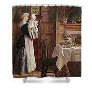 Hickory Dickory Dock  Shower Curtain by Edith Hopkins
