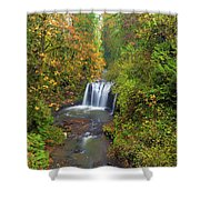 Hidden Falls In Autumn Shower Curtain