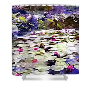 Hidden Pond Lotusland Shower Curtain