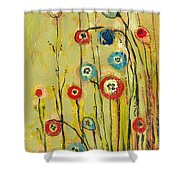 Hidden Poppies Shower Curtain by Jennifer Lommers