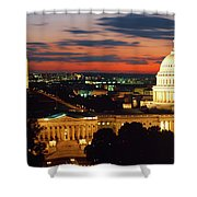 High Angle View Of A City Lit Shower Curtain