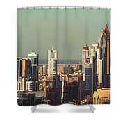 High-angle View Of Dubai's Towers At Sunset.  Shower Curtain