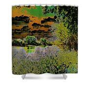 High Contrast River Sunset Shower Curtain