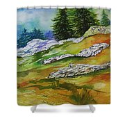 High Country Boulders Shower Curtain