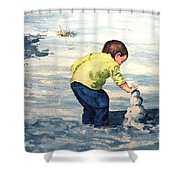 High Country Snow Girl Shower Curtain