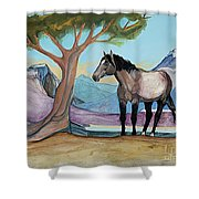 High Meadow Mustang Shower Curtain