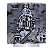High Noon Black And White Shower Curtain