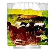 High Plains Horses Shower Curtain
