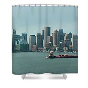 High Resolution Panoramic Of Downtown Boston During The Day Shower Curtain