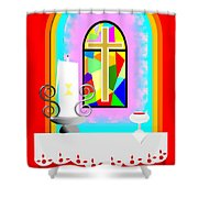 High Stained Glass Shower Curtain