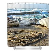 High Tide In Sennen Cove Cornwall Shower Curtain