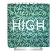 High Typo  Cannabis   Hemp  420  Marijuana   Pattern Shower Curtain