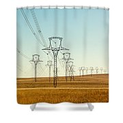 High Voltage Power Lines Shower Curtain
