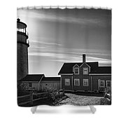 Highland Lighthouse Bw Shower Curtain