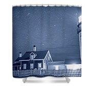 Highland Lighthouse Truro Ma Cape Cod Monochrome Blue Nights Shower Curtain