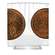 Highly Graded American Indian Head Cents On White Background  Shower Curtain