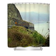Highway 1 At Lucia South Of Big Sur Ca Shower Curtain
