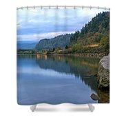 Highway Light Trails On Columbia River Gorge Shower Curtain