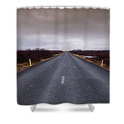 Highway Straight Road Leading To The Snowy Mountains Shower Curtain