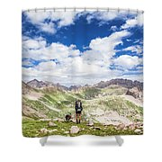 Hiker And Dog Shower Curtain