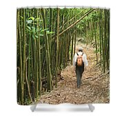 Hiker In Bamboo Forest Shower Curtain by Greg Vaughn - Printscapes