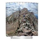 Hiker On Mt Eolus Catwalk - Chicago Basin - Weminuche Wilderness - Colorado Shower Curtain