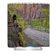 Hikers Zion National Park Shower Curtain